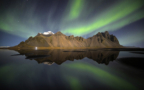 Northern light above Vestrhorn mountain, Hofn,  Stokksnes, south easth Iceland